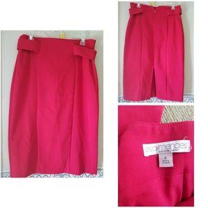Eva Mendes red pencil midi skirt size 8